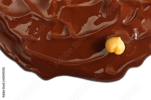Chocolate background with nut.