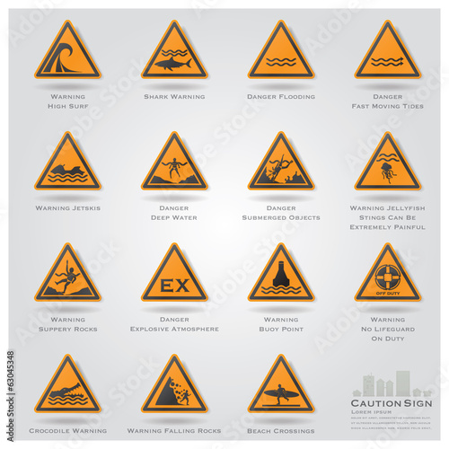 Sea And Beach Caution And Warning Sign Icons Set