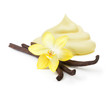 Vanilla pods,orchid flower and cream isolated on white