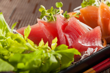 sashimi, raw fish mixed in traditional Japanese style