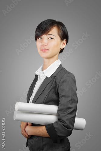 Woman with scroll of documents