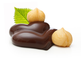 Chocolate with nuts on a white background