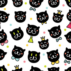 Cute cats. Seamless pattern.