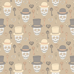 Skull retro seamless background