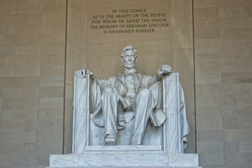 Abraham Lincoln statue at Washington DC Memorial