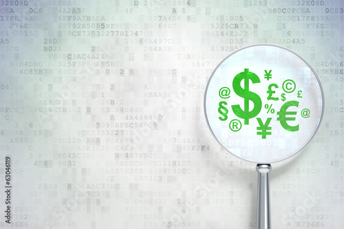 Finance concept: Finance Symbol with optical glass on digital