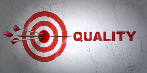 Marketing concept: target and Quality on wall background