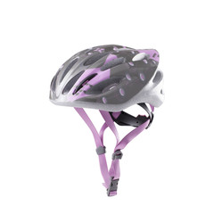 woman bicycle mountain bike safety helmet isolated on white