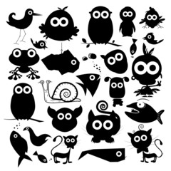 Black Vector Animals Silhouette Set