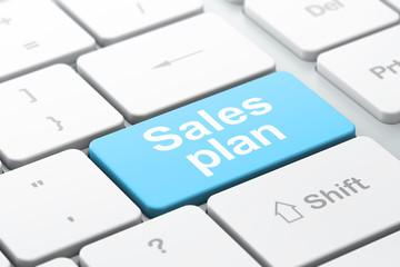 Marketing concept: Sales Plan on computer keyboard background