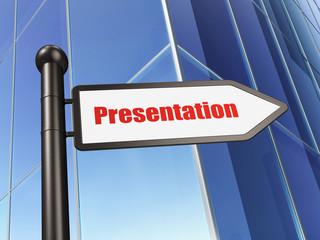 Advertising concept: sign Presentation on Building background