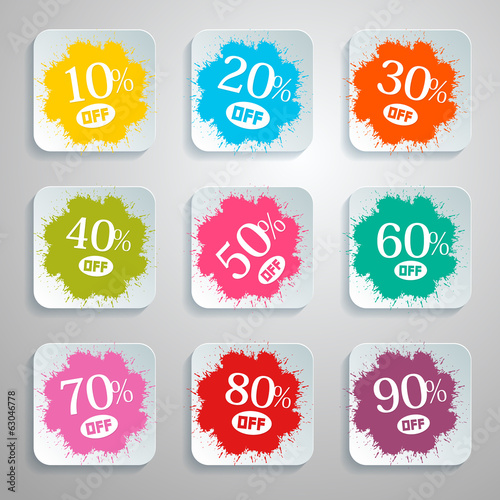 Discount Vector Splash - Paper Labels Set