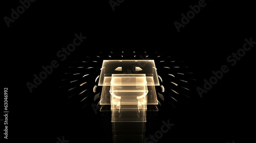 perspective view  of golden cubical composition, seamless loop