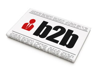 Business concept: newspaper with B2b and Business Man