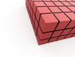 Red cubes rendered on white