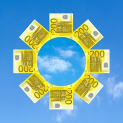 Geldscheine und Sonne