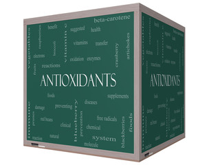 Antioxidants Word Cloud Concept on a 3D cube Blackboard