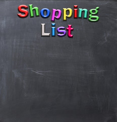 Shopping list from magnetic  letters