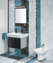 detail of a luxurious bathroom interior with miror and sink with