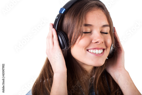 Pretty girl listening to music