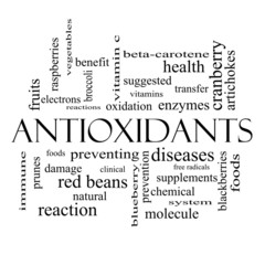 Antioxidants Word Cloud Concept in black and white