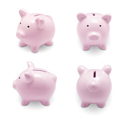 Set of pink piggy bank isolated on white background