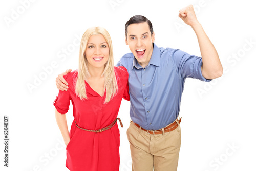 Young couple, cheering