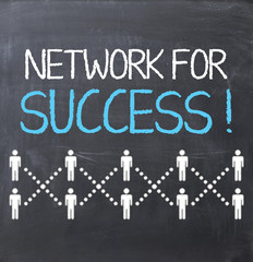 Network for success concept with people sketched on blackboard