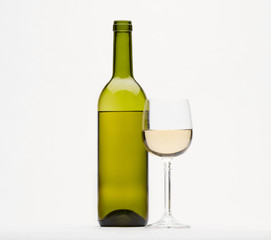 White wine and Wine isolated on white background