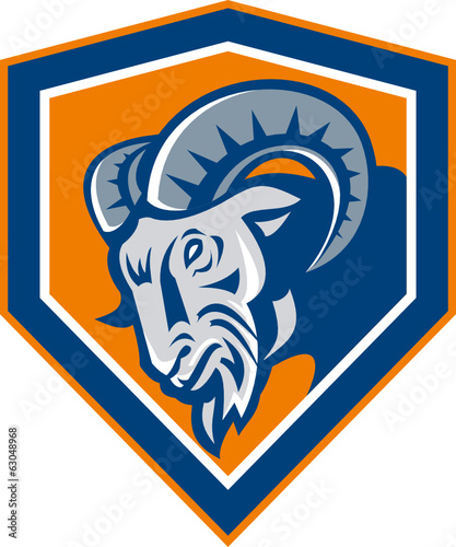 Ram Mountain Goat Head Shield Retro