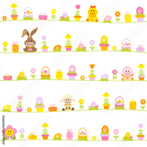 Easter Rabbit, Friends & Symbols Seamless Pattern