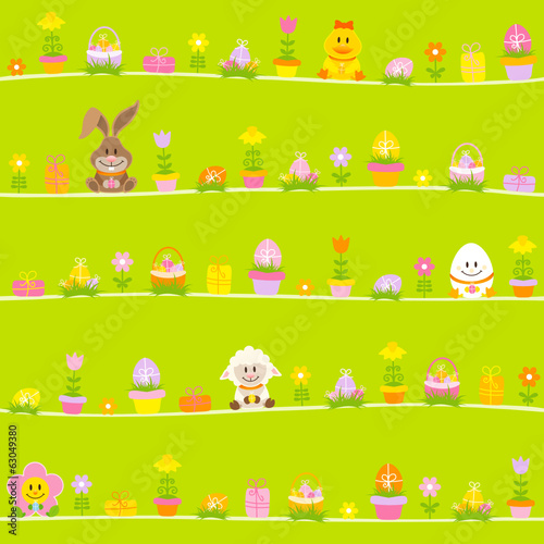 Easter Rabbit, Friends & Symbols Seamless Pattern Green