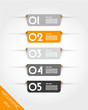 orange rounded rectangular stickers with shadows