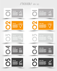 orange rectangular modern stickers