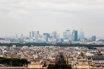 Paris skyline with La Defense business district in background