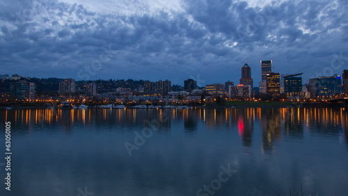 Portland Oregon Skyline at Blue Hour Dusk Time Lapse