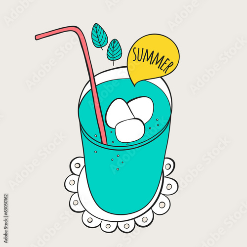 Summer cocktail illustration. Doodle drink