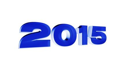 2015 year, 3d blue animation on white background