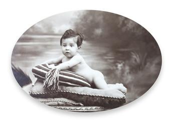 Antique Portrait of a little boy. Made in a studio. Vintage.