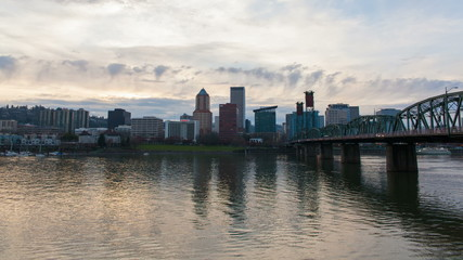 Portland Oregon Downtown Skyline at Sunset Time Lapse
