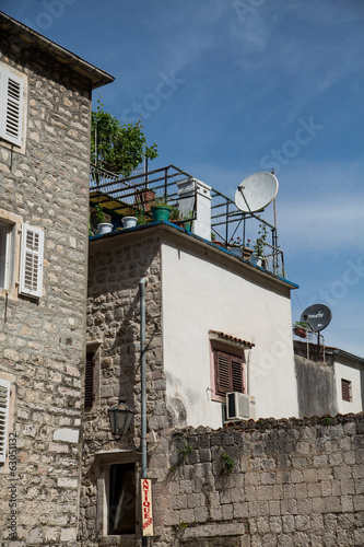Satellite Dish on Old Stone Building in Kotor