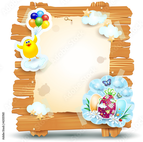 Easter signboard isolated on white, vector eps10