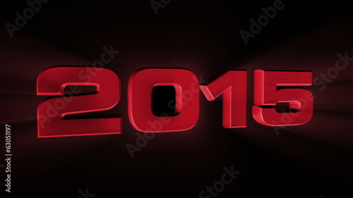 2015, 3d red animation on black background