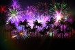 Digitally generated palm tree background with fireworks