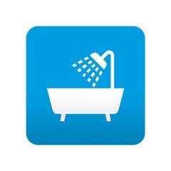 Etiqueta tipo app azul simbolo bañera