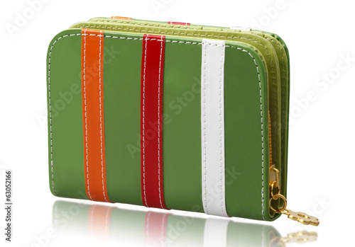 Colorful fashion wallet isolated on white