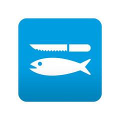 Etiqueta tipo app azul simbolo limpieza de pescado