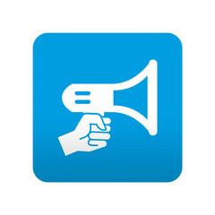 Etiqueta tipo app azul simbolo megafono