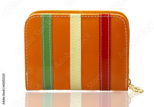 Colorful woman fashion wallet isolated on white