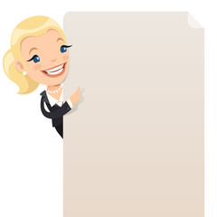 Businesswoman and blank poster. Clipping paths included.